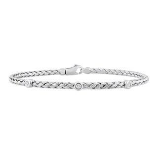 Miadora Signature Collection 14k White Gold 1/10ct TDW Diamond Weaved Station Bracelet