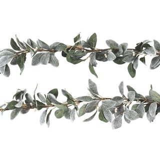 Artificial Faux White Berry Frosted Leaf Branch Garland - Set of 2