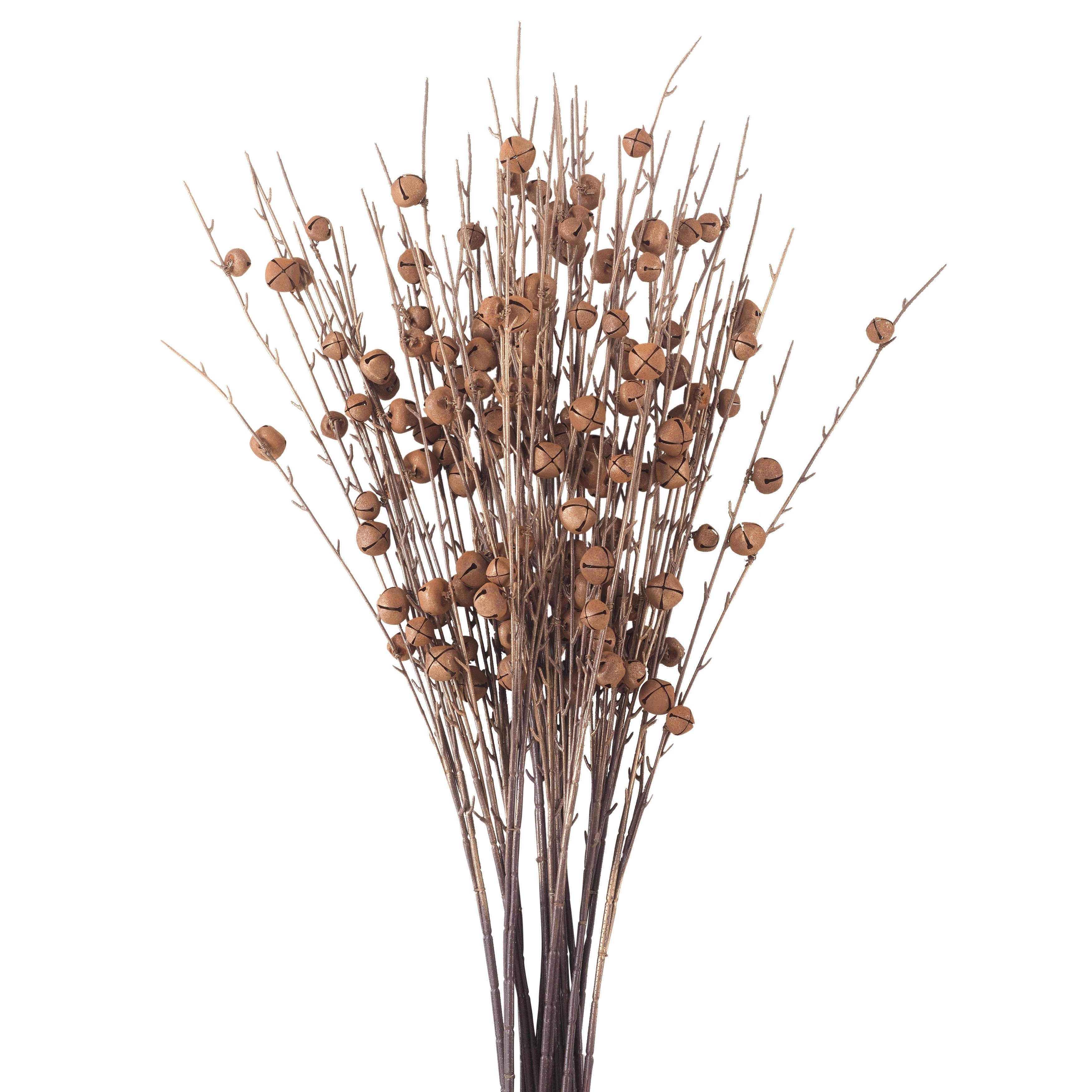 Rusty Jingle Bell Artificial Faux Twig Branch Spray  - Set of 12