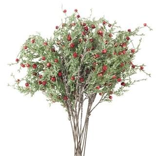 Red Jingle Bell Artificial Faux Cedar Twig Branch Spray - 12 pc set