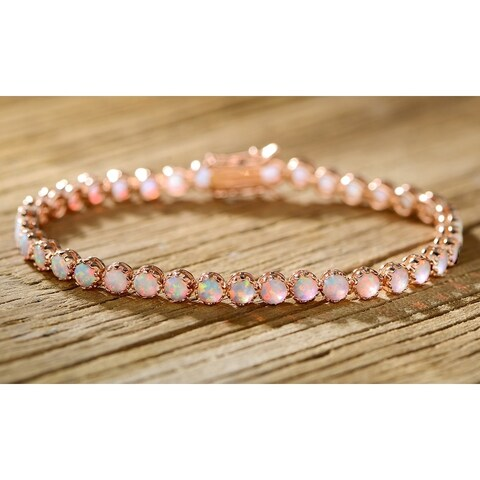 Rose Gold Plated Fire Opal Crown Bracelet