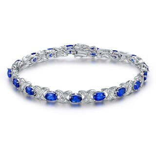 White Gold Plated Blue Spinel Tennis Bracelet