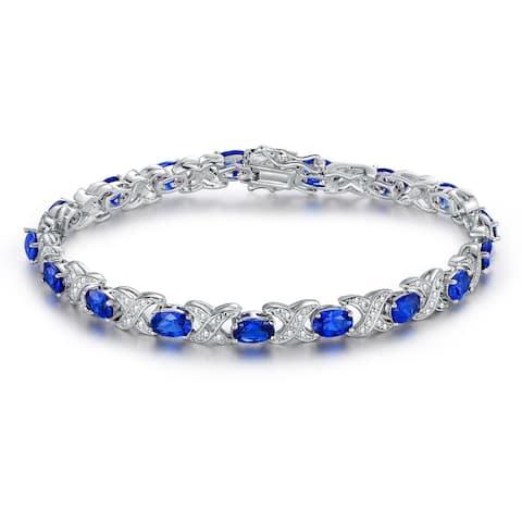 White Gold Plated Blue Spinel Tennis Bracelet