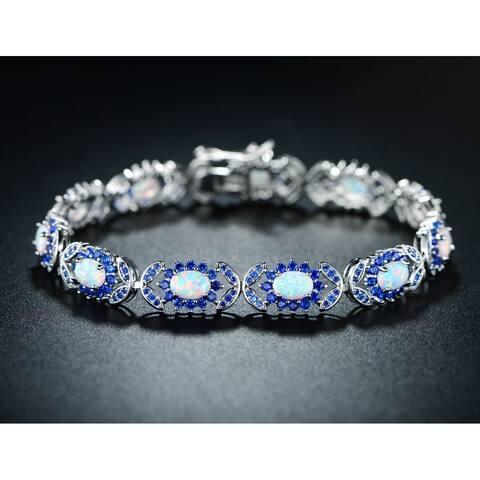 White Gold Plated Sapphire Quartz Spinel Fire Opal Bracelet