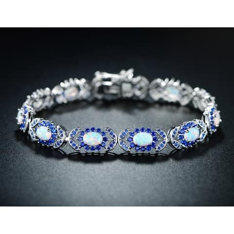 Lab Grown White Fire Opal Bracelet with Created Sapphire Accents