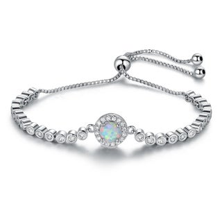Rhodium Plated White Fire Opal & Cubic Zirconia Adjustable Bracelet