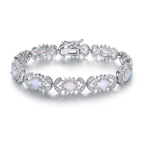White Gold Plated Fire Opal Bracelet