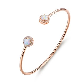 Rose Gold Plated Halo-Cut White Fire Opal & Cubic Zirconia Open Cuff