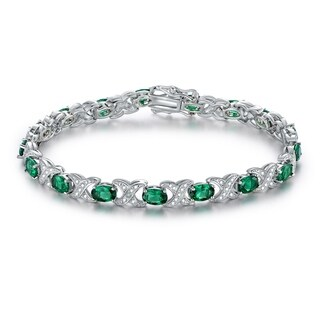 White Gold Plated Emerald Bracelet