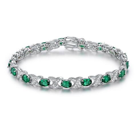 White Gold Plated Emerald Bracelet