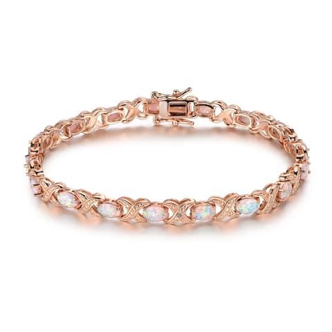 Rose Gold Plated Fire Opal Tennis Bracelet