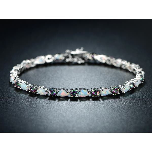 White Gold Plated Rainbow Quartz Fire Opal Tennis Bracelet
