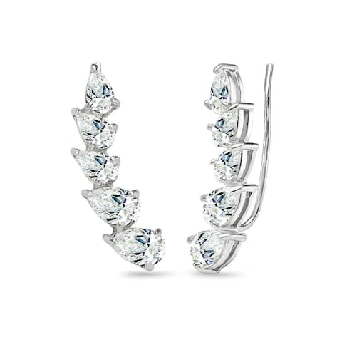 ICZ Stonez Sterling Silver Teardrop Climber Crawler Earrings Created with AAA Zirconia