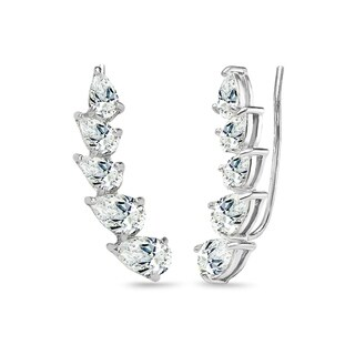 ICZ Stonez Sterling Silver Teardrop Climber Crawler Earrings Created with Swarovski Zirconia
