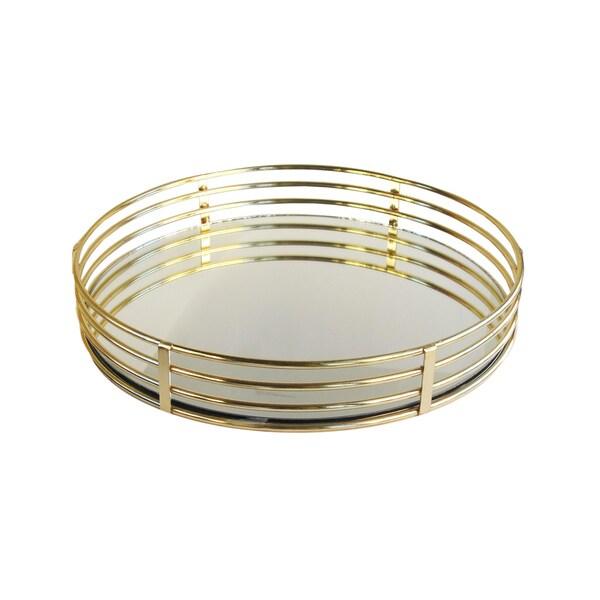 "Circle Gold Mirror Trays 15""D"