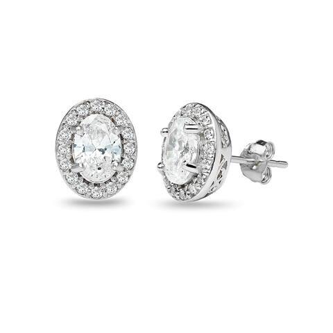 65849bdf3 ICZ Stonez Sterling Silver Oval Halo Stud Earrings Created with Swarovski  Zirconia