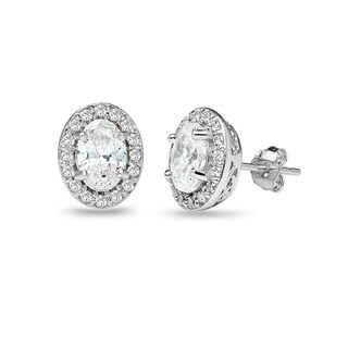 ICZ Stonez Sterling Silver Oval Halo Stud Earrings Created with Swarovski Zirconia
