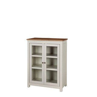 Savannah Pie Safe White Wood Cabinet With Natural Wood Top