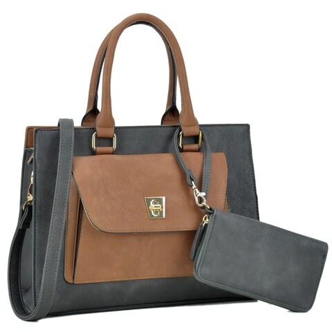 Dasein Front Twist Lock Pocket Satchel Handbag and Matching Wallet