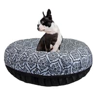 Bessie and Barnie Signature Black Puma/ Versailles Blue Luxury Extra Plush Faux Fur Bagel Pet / Dog Bed