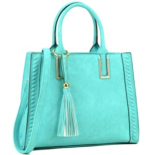 Dasein Weave Design with Tassel Deco Satchel Handbag