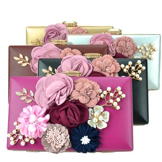 Dasein Satin Flower Patch Clutch