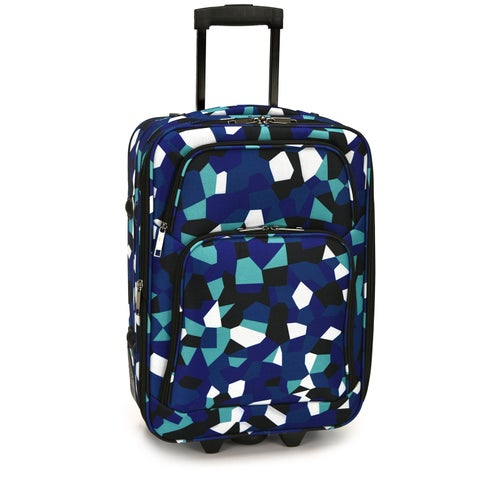 Elite Luggage Blue Geo 20- Inch Expandable Carry-On Rolling Suitcase