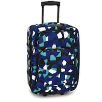 Elite Luggage Blue Geo 20-Inch Expandable Softside Carry-On Rolling Suitcase
