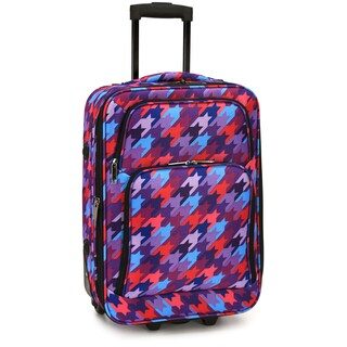 Elite Luggage Houndstooth 20-Inch Expandable Softside Carry-On Rolling Suitcase