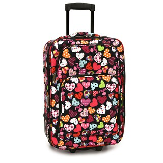 Elite Luggage Love Hearts 20-Inch Expandable Softside Carry-On Rolling Suitcase