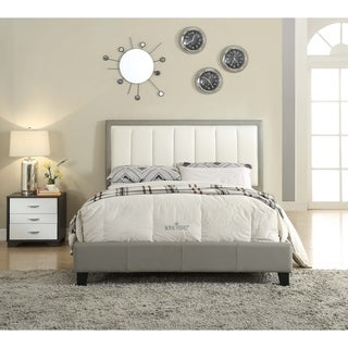 Acme Filart Grey and Cream Faux-leather Queen Bed
