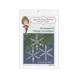 Solid Oak Kit Beaded Ornament Vintage Snowflakes