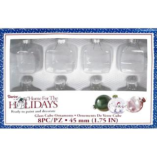 "Darice Holiday Glass Ornament Cube 1.75"" 8pc"