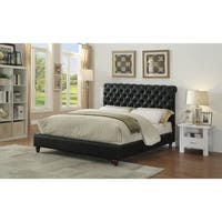 ACME Nanko Queen Bed in Black Faux Leather
