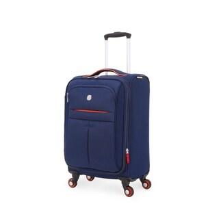 SwissGear Navy/Orange 19- inch Carry On Lightweight Sofside Spinner Suitcase
