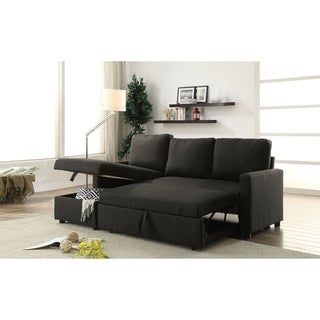 ACME Hiltons Sectional Sofa with Sleeper in Charcoal Linen