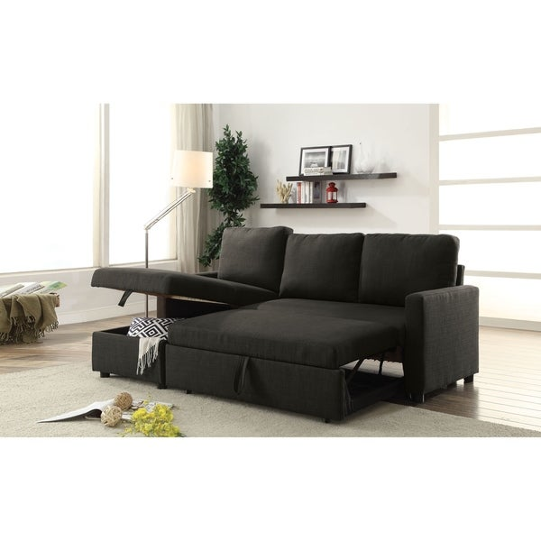 Shop Acme Hiltons Sectional Sofa With Sleeper In Charcoal