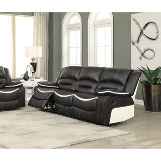 Acme Broderick Ebony/Cream Faux Leather Reclining Sofa