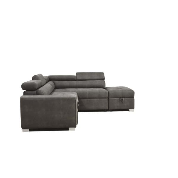 Acme Thelma Sectional Sofa With Sleeper And Ottoman In
