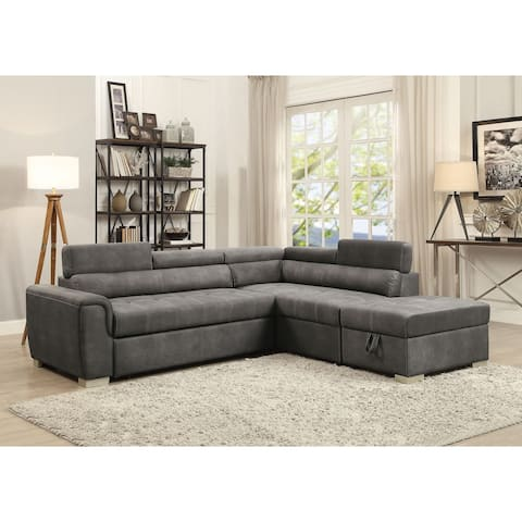 ACME Thelma Sectional Sofa with Sleeper and Ottoman in Grey Polished Microfiber