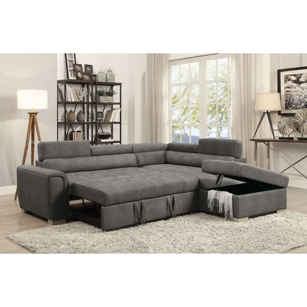 Excellent Shop Acme Thelma Sectional Sofa With Sleeper And Ottoman In Andrewgaddart Wooden Chair Designs For Living Room Andrewgaddartcom