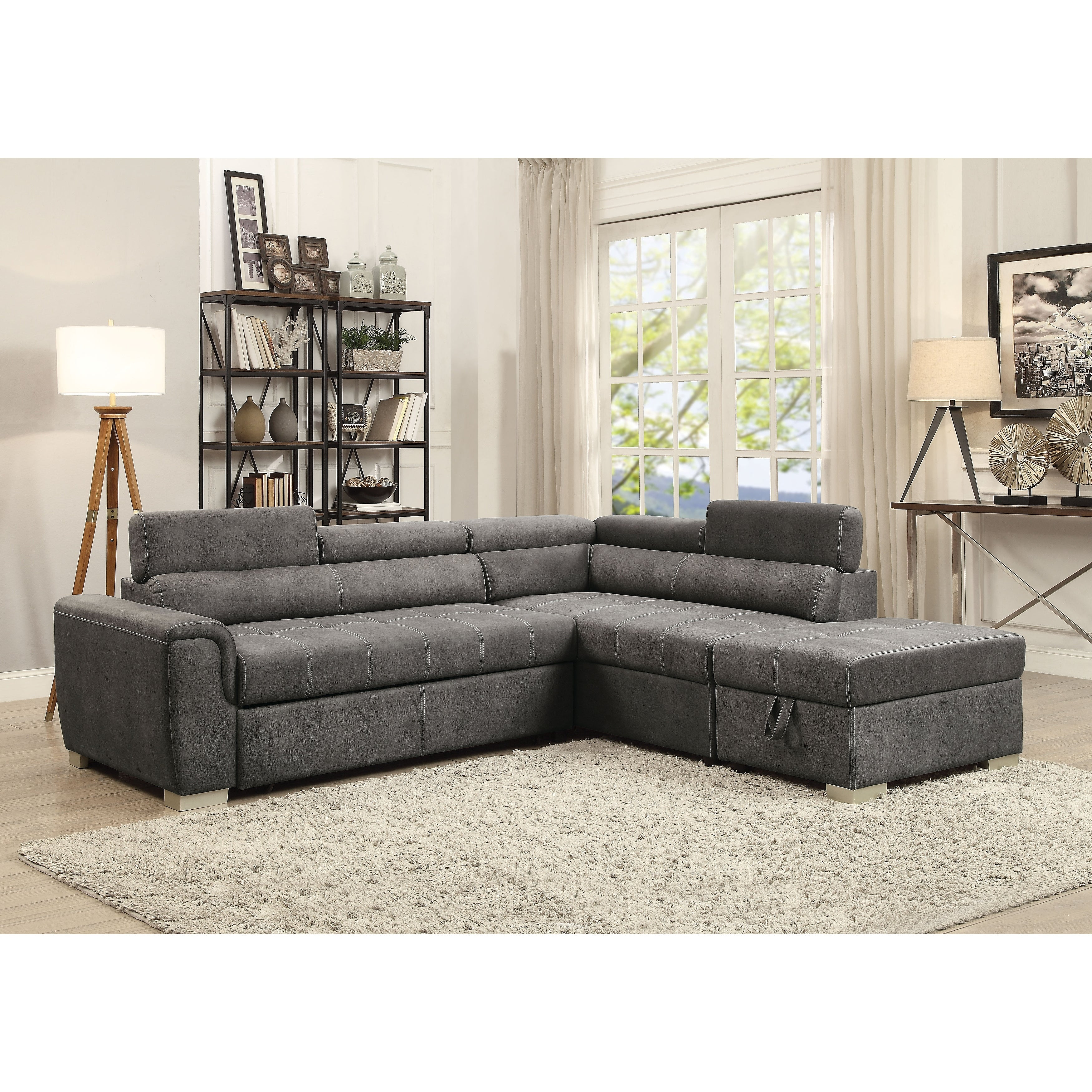 Acme Thelma Grey Microfiber L shaped Sectional Sofa with Sleeper