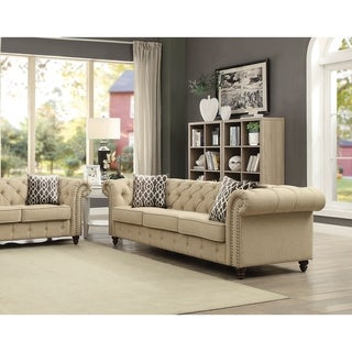 Acme Aurelia Beige Linen Upholstered Sofa with 2 Pillows