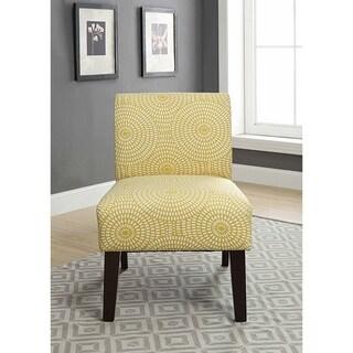 ACME Ollano III Accent Chair in Yellow Circular Pattern Linen