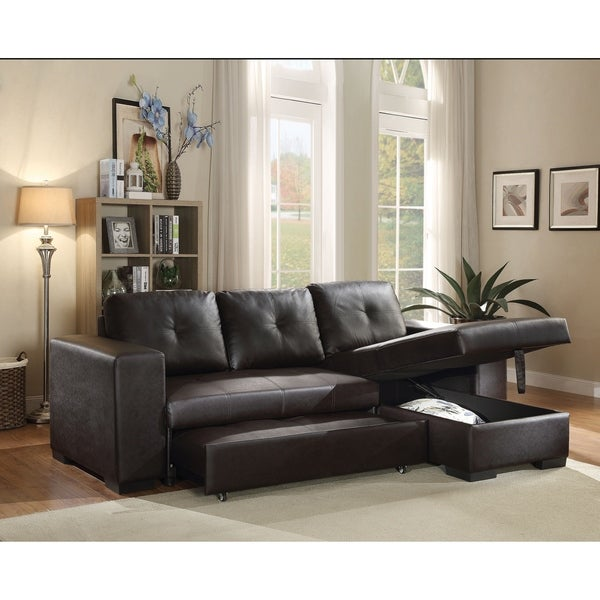 Shop Acme Lloyd Sectional Sofa With Sleeper In Black Faux Leather