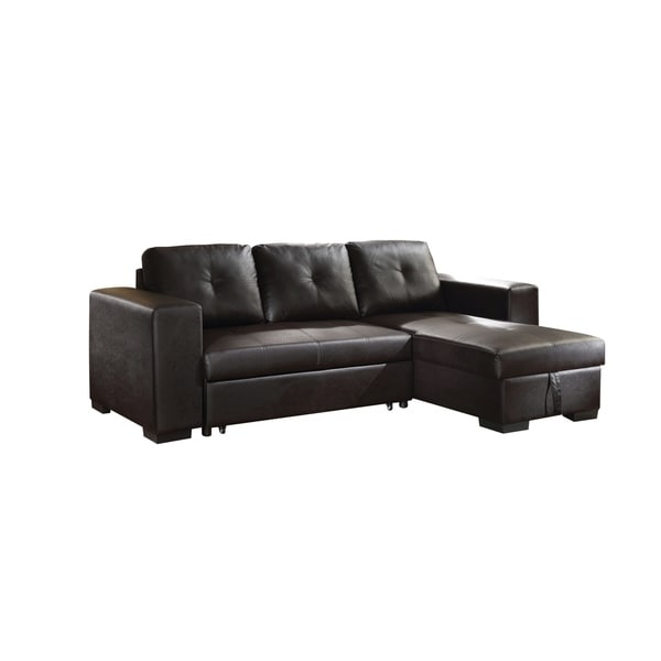 Acme Lloyd Black Faux Leather Sectional Sofa With Sleeper Free