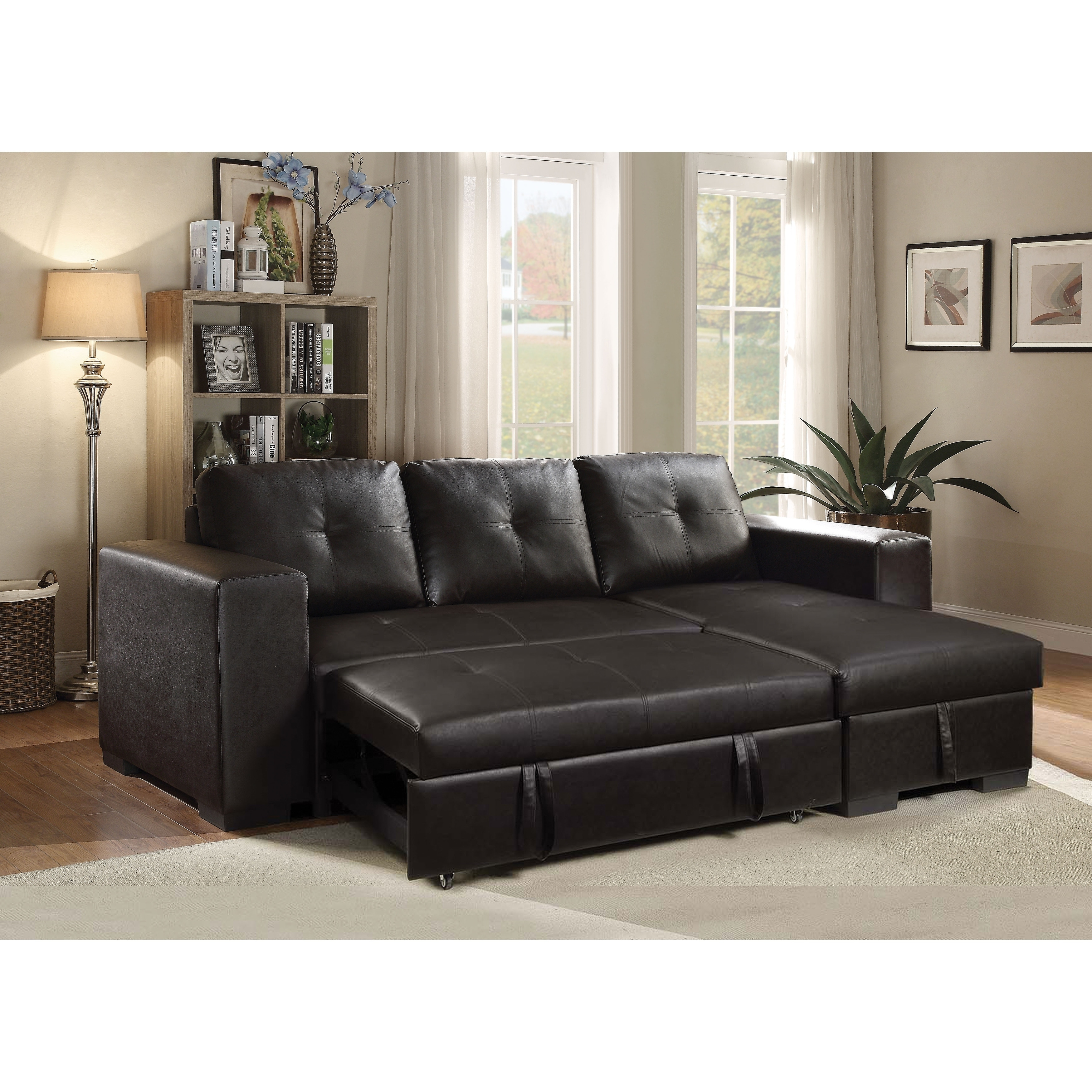 Acme Lloyd Sectional Sofa With Sleeper In Black Faux Leather