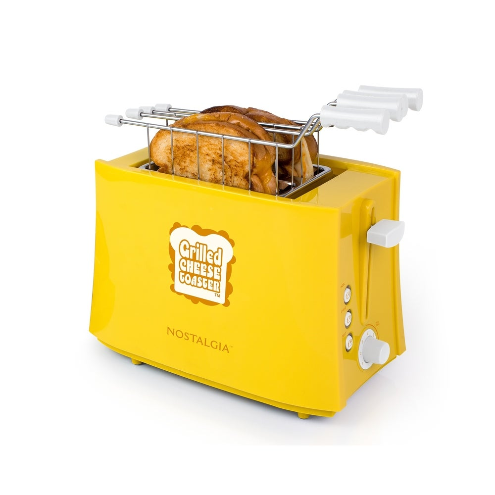 Yellow Nostalgia GCT2 Deluxe Grilled Cheese Sandwich Toaster with Extra Wide Slots