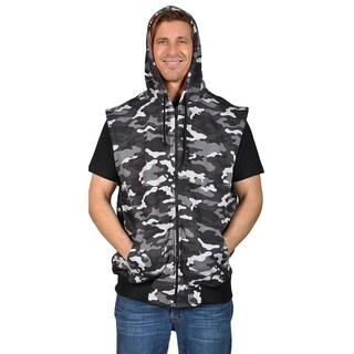 Knockout Men's Sleeveless Contrast Hoodie (2XL, Black Camo)