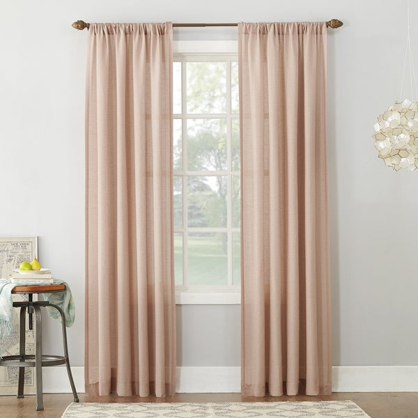 No. 918 Amalfi Linen Blend Textured Sheer Rod Pocket Single Curtain Panel. Opens flyout.